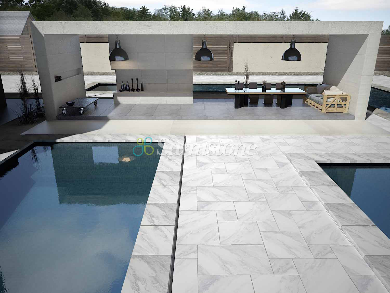 Samistone rain clouds grey marble sandblasted pool coping