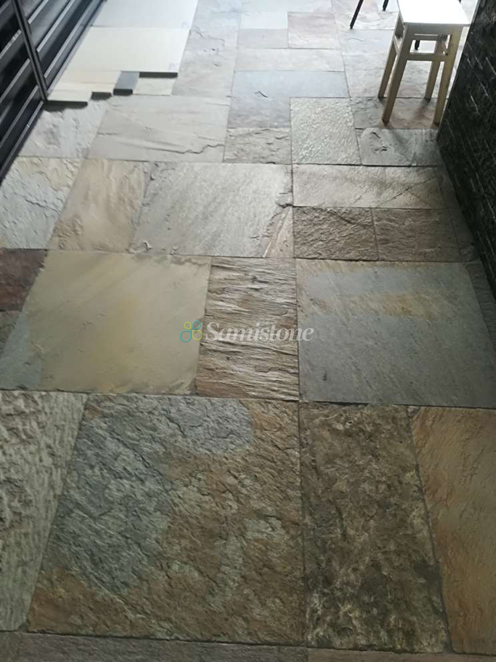 Samistone Beige Grey Color Slate Paving Natural Stone