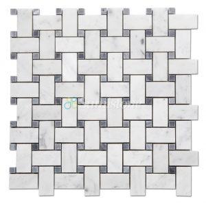 Samistone-Carrara-White-Marble-Basketweave-Mosaic