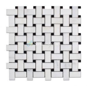 Samistone-Statuary-White-Marble-Basketweave-Mosaic