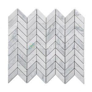 Samistone-Carrara-White-Marble-Chevron-Mosaic